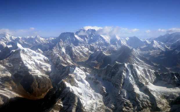 An aerial view of Mt Everest, centre, amid the Himalayan mountain range taken in 2013.