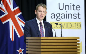 Education Minister Chris Hipkins speaks to media during a press conference at Parliament on 21 April 2020 in Wellington, New Zealand.