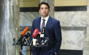 National leader Simon Bridges speaks to media during a press conference at Parliament on 21 April 21 2020.