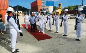Taiwan Ambassador to Palau  Wallace M. G. Chow and  the fleet's Rear Admiral Chen, Tao-Hui accompanied Vice President of the Republic of Palau Raynold Oilouch to join the welcoming ceremony March when the ships docked here.