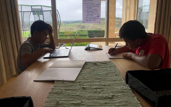 Children being homeschooled under the Covid-19 alert level 4 lockdown.