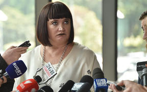 Rugby Australia chief executive Raelene Castle in a news conference after Israel Folau's anti-gay comments in April last year.