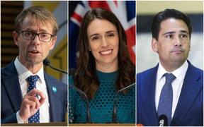 Director-General of Health Dr Ashley Bloomfield (far left), Prime Minister Jacinda Ardern and National Party leader Simon Bridges.