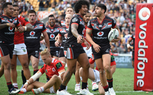 Shaun Johnson scores an early try. Vodafone Warriors v St George Dragons, NRL Rugby League. Mt Smart Stadium, Auckland, New Zealand. Sunday 1 May 2016.