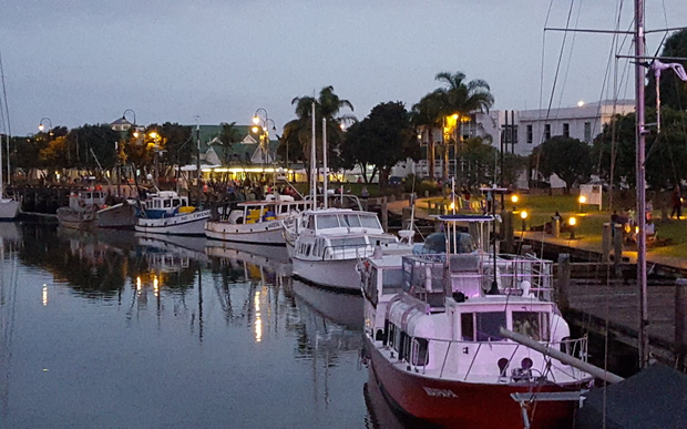 Marchers stream into Whangarei Town Basin's marina this evening after a mass walk around the Hatea Loop.