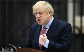 UK Prime Minister Boris Johnson gives a statement in Downing Street in central London on April 27, 2020 after returning to work following more than three weeks off after being hospitalised with the COVID-19 illness