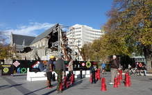 Christchurch's Cathedral Square is again busy with people enjoying a sunny Sunday afternoon, but five years on the cathedral still waits in disrepair.