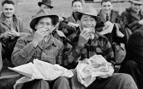 Fish and chips before the game Athletic Park 1950