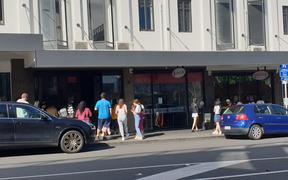 Queue for bubble tea in Newmarket store Gongcha, Auckland on day one of alert level 3, on 28 April
