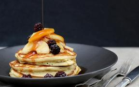 Fluffy Sourdough Pancakes with Caramel Apples