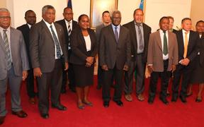 Solomon Islands prime minister Manasseh Sogavare (centre front) flanked by newly sworn in ministers and other members of his cabinet. April 2020