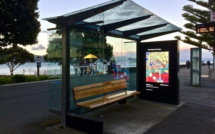 Philip Trusttum on Oriental Bay bus shelter - Parliamentary Art Collection