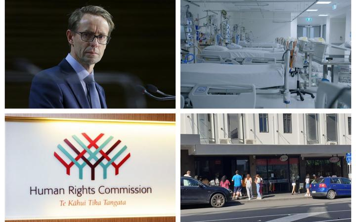 (Clockwise from top left) Today, Dr Ashley Bloomfield annuonced three new Covid-19 cases, GPs are calling for a health system reform, the Human Rights Commission has delivered a report on the coronavirus response, and people queue outside an Auckland business during alert level 3.