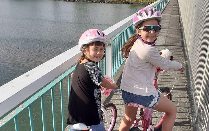 Kara (6) and Kayla (8) Jones are some of many who have enjoyed cycling through Whakatane's safer streets during the nationwide Covid-19 lockdown.