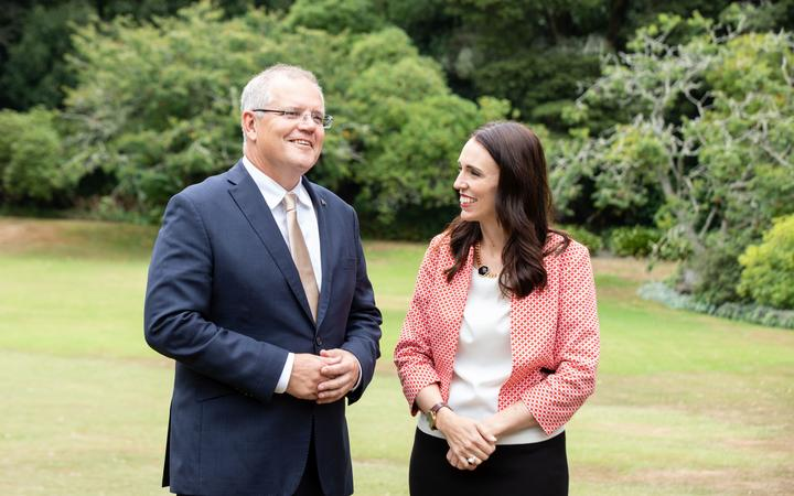Australian Prime Minister Scott Morrison with NZ PM Jacinda Ardern at Government House in Auckland
