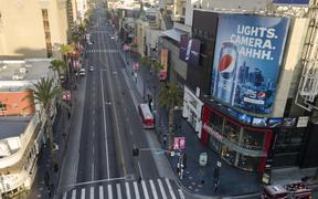 An aerial view looking towards west along Hollywood Blvd at the intersection with Highland Ave during morning rush hour on Monday April 27, 2020 in Los Angeles, California during the coronavirus COVID-19 pandemic.