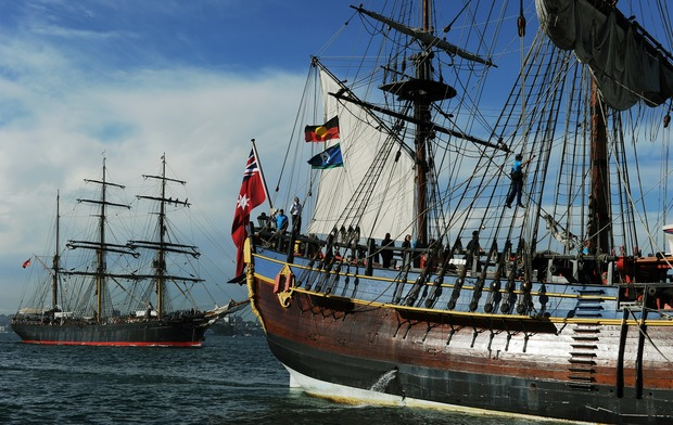 A replica of Captain Cook's ship the Endeavour at Sydney Harbour in 2012. The wooden vessel had just completed a 13-month 13,300 nautical mile circumnavigation of Australia.