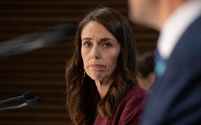 Prime Minister Jacinda Ardern looks on during a Covid-19 coronavirus briefing on 6 May, 2020.