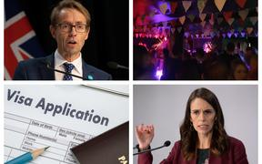 From top left, Dr Ashley Bloomfield, Whammy bar - a music venue struggling during due to Covid-19, Jacinda Ardern, and a visa application - Immigration NZ is today reported to be in disarray due to working from home issues.