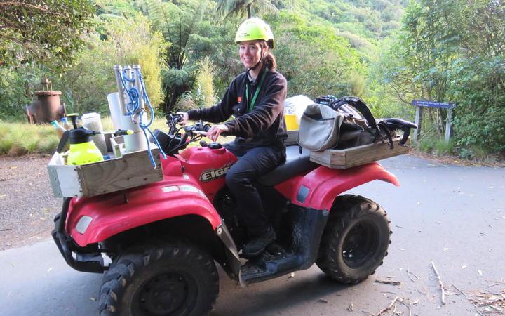 Ellen Irwin on a quad bike