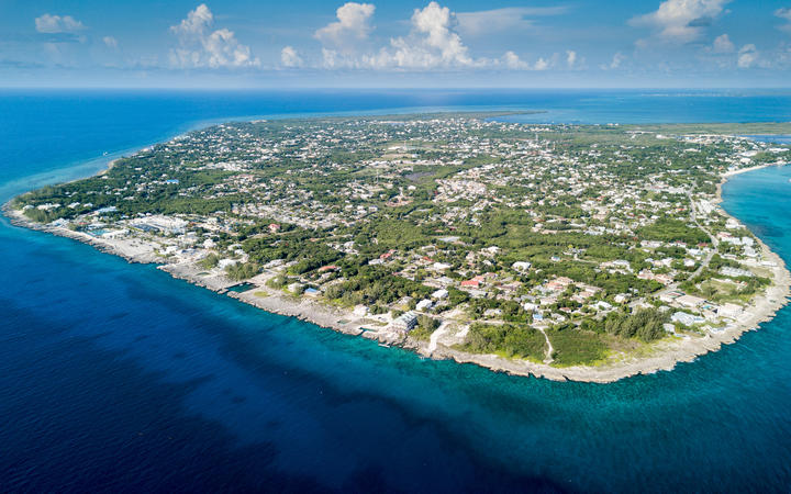 Aerial view of Grand Cayman island in the Caribbean.