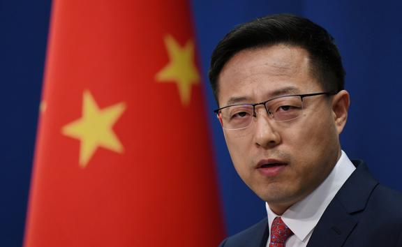 Chinese Foreign Ministry spokesperson Zhao Lijian speaks at the daily media briefing in Beijing on April 8, 2020.