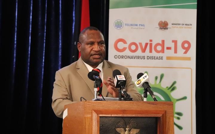Papua New Guinea's Prime Minister James Marape updates media on the countries covid-19 response. 8 April, 2020.