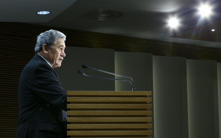 Minister for Racing Winston Peters speaks to media during a pre-budget racing announcement at Parliament.