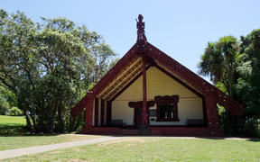 View of the marae on Treaty Grounds at Waitangi National Reserve, Northland Region, in 2014.