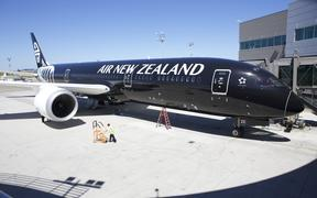 An Air New Zealand 787-9 Dreamliner sits in its stall at the Boeing Delivery Center, July 9, 2014 in Everett, Washington.