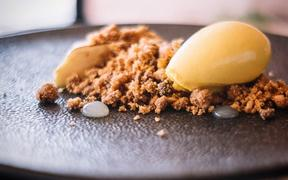 Ode Wanaka owner Lucas Parkinson's crumble.