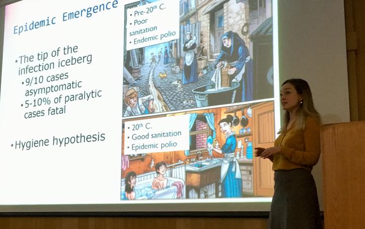 Dr Heather Battles giving a lecture on the 1916 polio epidemic in New Zealand at the University of Alaska Anchorage in 2018.