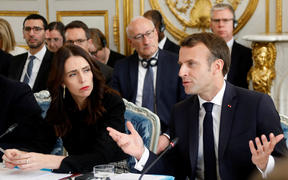 French President Emmanuel Macron and Prime Minister Jacinda Ardern attend a launching ceremony for the 'Christchurch Call' at the Elysee Palace in Paris, on May 15, 2019.