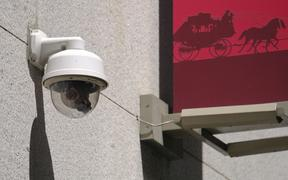 This photo taken Tuesday, May 7, 2019, shows a security camera in the Financial District of San Francisco. San Francisco is on track to become the first U.S. city to ban the use of facial recognition by police and other city agencies