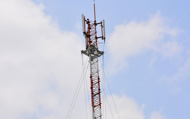 cell phone tower or mobile phone tower on blue sky background