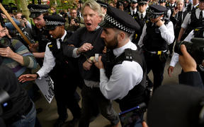 A man is arrested at a 'UK freedom movement' mass gathering in London