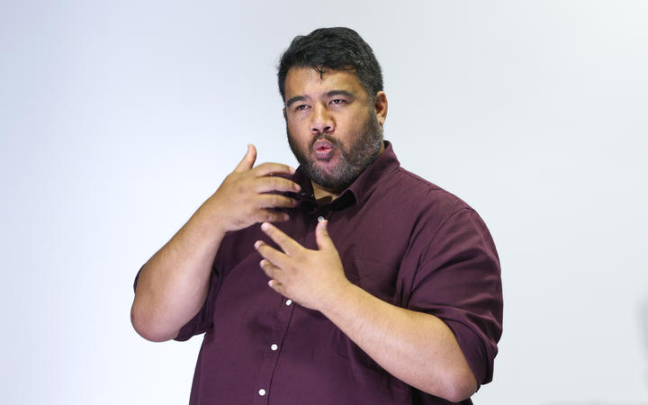 Sign-language interpreter Alan Wendt translates during a press conference at Parliament on April 05, 2020. New Zealand was placed in complete lockdown and a state of national emergency was declared on Thursday 26 March to stop the spread of COVID-19 across the country.