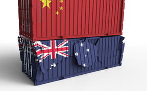 Container breaks another container. Trade war or political export or import ban conceptual 3D