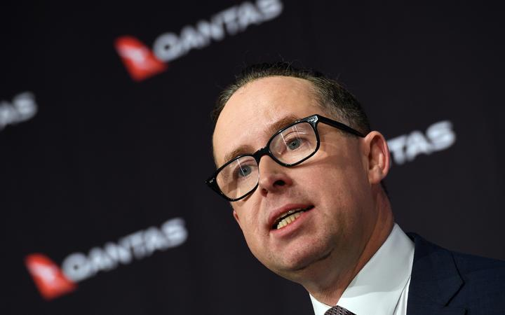 Qantas chief executive Alan Joyce speaks during a press conference in Sydney on August 25, 2017.