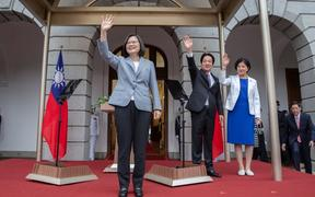 Taiwan president Tsai Ing-wen and Vice President William Lai wave during their inauguration in Taipei after her landslide victory in the Taiwanese Presidential Election.