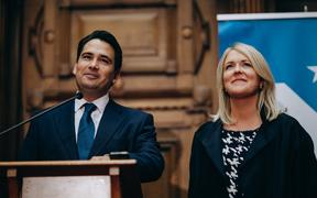 Simon Bridges and his wife Natalie as he gives a speech after being replaced as leader of the National Party.