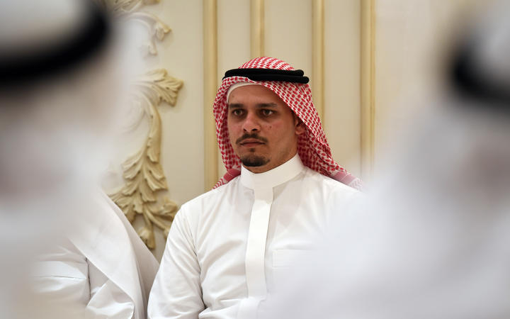 Salah Khashoggi the son of murdered Saudi journalist Jamal Khashoggi and his relatives receive mourners at an events hall in the Saudi coastal city of Jeddah