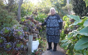 Tala in her garden at Hataitai