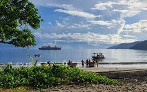 Landing of Papua New Guinea's submarine internet cable in Arawa, 18 May 2020.