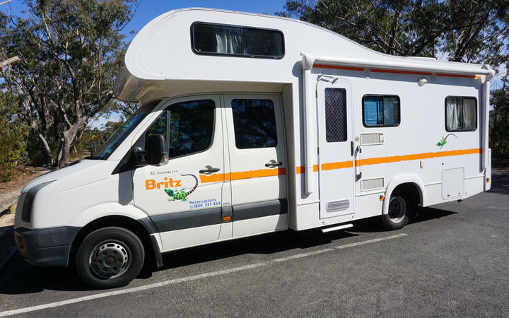 A campervan travel on the road on August 20, 2015 in Sydney, Australia. Britz is the largest campervan rental company in Australia