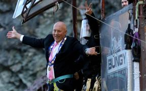 Queenstown mayor Jim Boult takes a sunrise bungy jump on Thursday.  AJ Hackett Bungy started operating again on the first day of level 2 rules that allow domestic tourism to re-start.