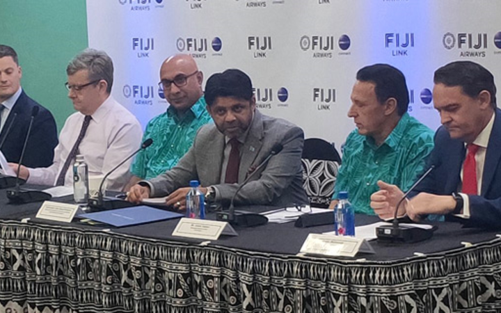 Fiji Airways managing director and CEO Andre Viljoen, second from right, with Minister for Aviation Aiyaz Saiyed Khaiyum, next to him, and other board members during last year's announcement of the airline's financial report for 2018.