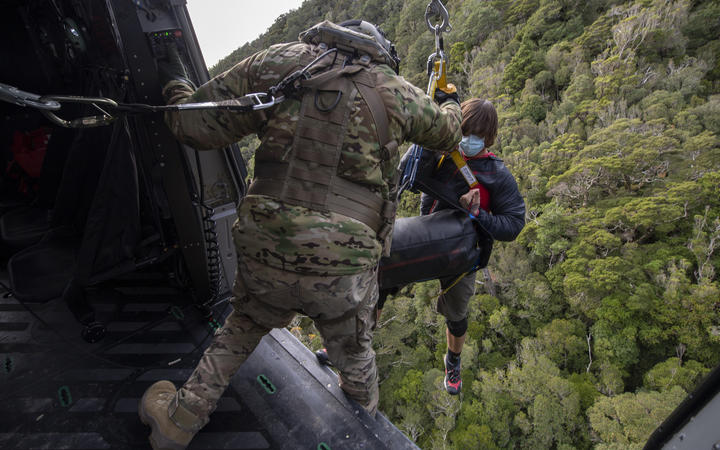 A no. 3SQN NH90 Helicopter assists NZ Police and LandSAR with a search and rescue operation to find two missing trampers - Dion Reynolds and Jessica O'Connor - in the Kahurangi National Park.