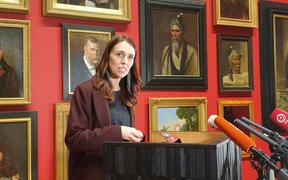 Prime Minister Jacinda Ardern announces the government's funding boost for the art sector at Te Papa.