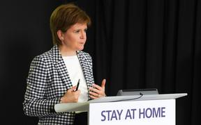 "Scotland's First Minister, Nicola Sturgeon speaking by the country's continued ""stay at home"" slogan, during the Scottish government's daily briefing on the novel coronavirus COVID-19 outbreak, at St. Andrew's House, Edinburgh."